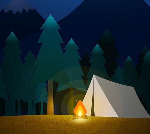 雪山下的露营